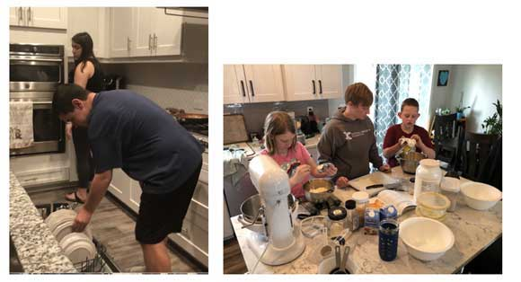 A family putting dishes in a dishwasher, and helping fix dinner.