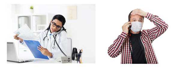 A female doctor on the phone and a man wearing a face mask on a phone.