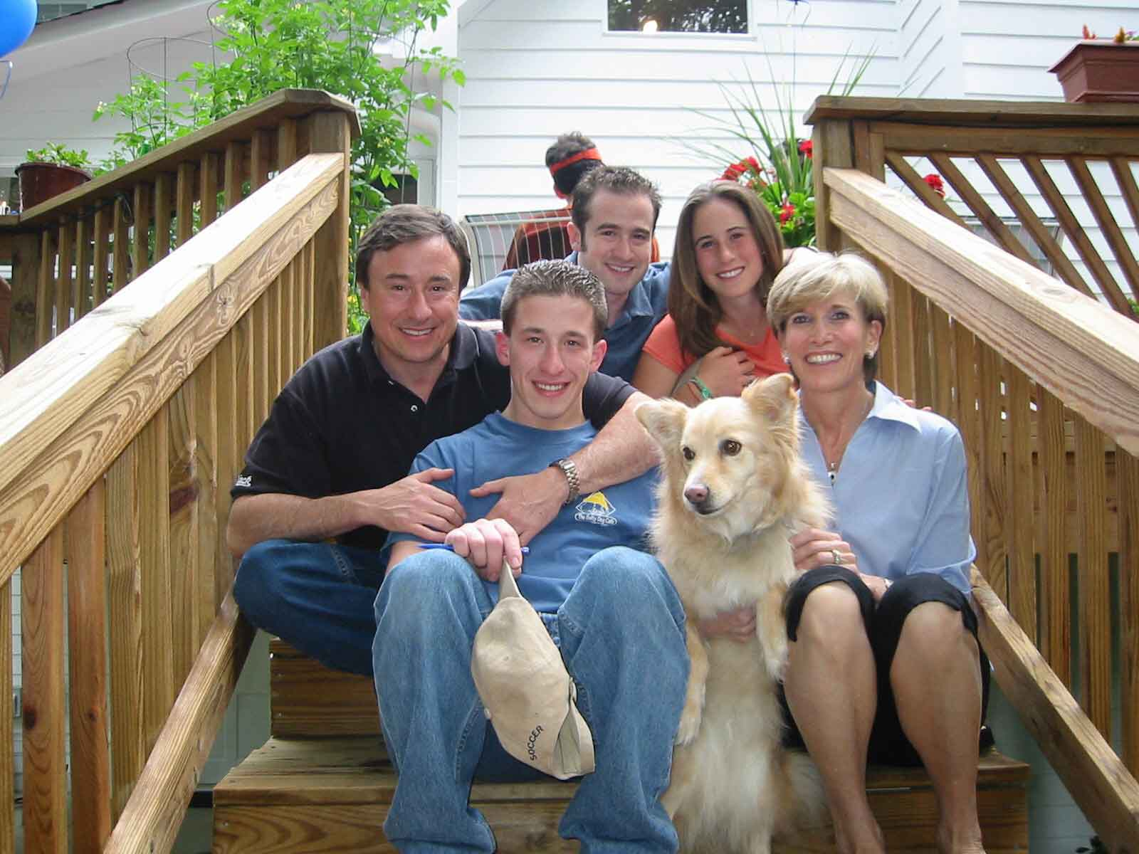 family photo with dog