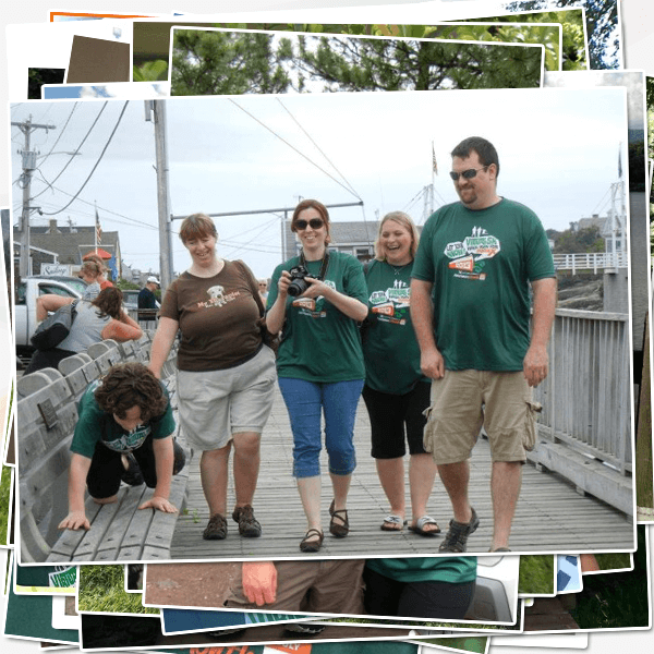 Eric, Melissa and Caleb Welin, Holly Usrey-Roos and Kristie Jackson getting ready for a Lobster boat trip in Maine