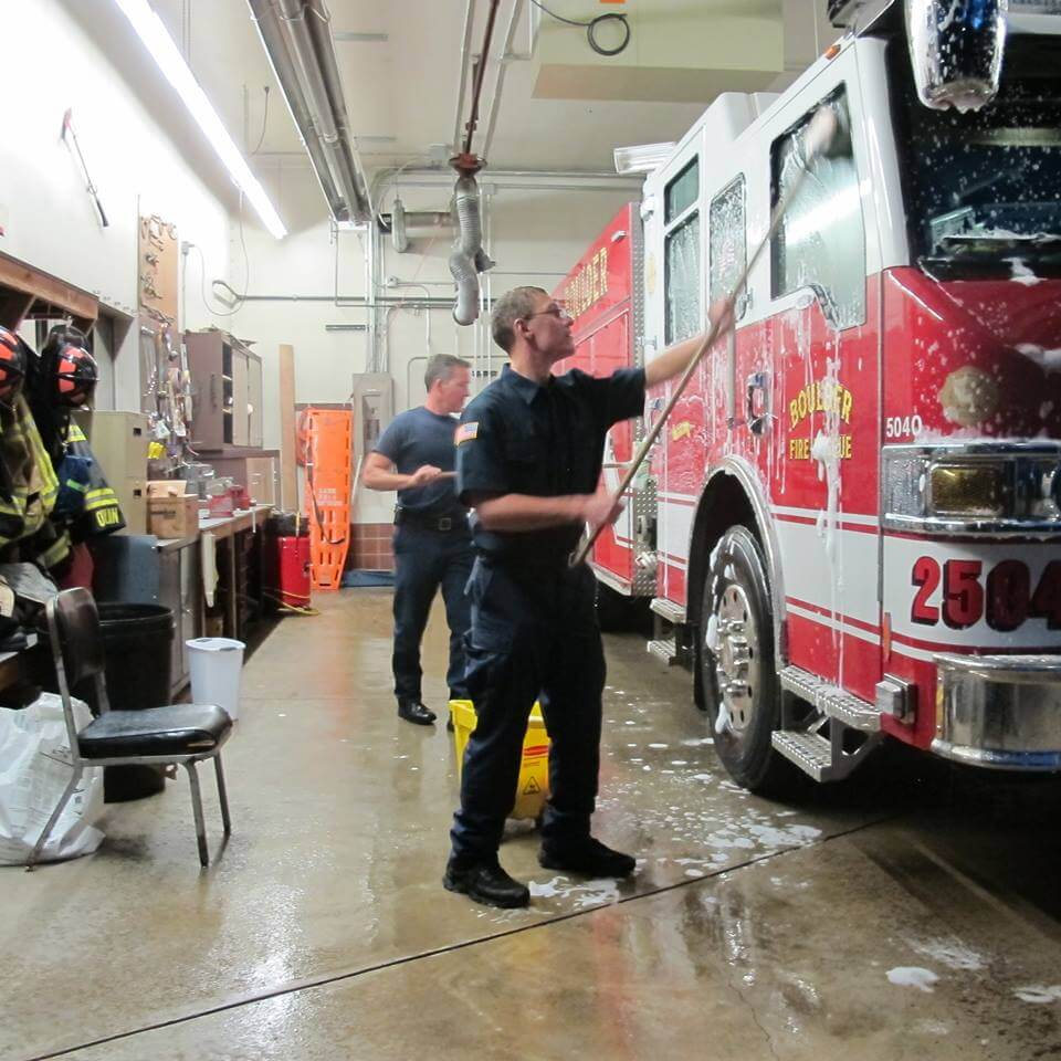 Ian washing a fire truck