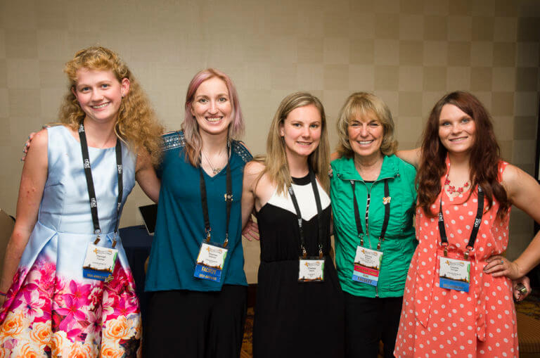 Marcia Braden with four young women with Fragile X syndrome
