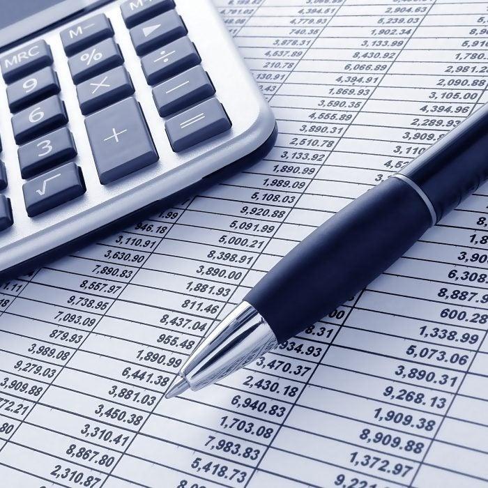 Budget spreadsheet calculator pen