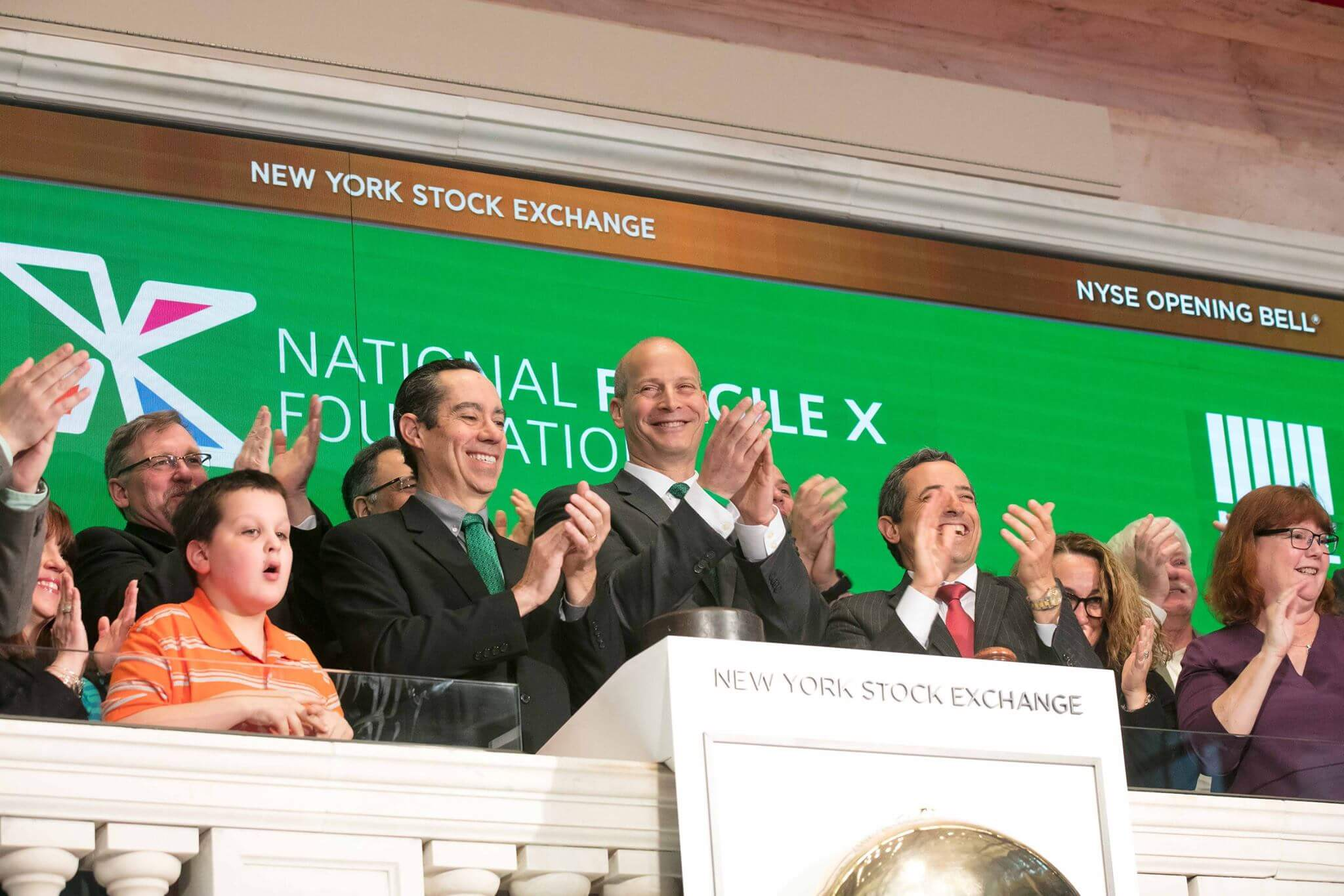 <b>New York Stock Exchange bell ringing</b> <br/> http://We%20were%20invited%20to%20the%20New%20York%20Stock%20Exchange%20to%20ring%20the%20opening%20bell,%20giving%20us%20the%20amazing%20chance%20to%20raise%20awareness%20for%20Fragile%20X.%20Our%20president%20Brian%20Silver%20and%20CEO%20Tony%20Ferlenda%20were%20joined%20at%20the%20podium%20by%2012%20other%20friends%20and%20family%20members%20of%20the%20community.%20a%20class=portfolio-content-link%20href=/2017/foundation/annoucements/nfxf-rings-nyse-opening-bell-video/Watch%20the%20Video/a