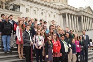 Siblings and self advocates on the steps of the U.S. Capitol