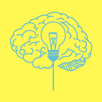 brain drawing with a light bulb