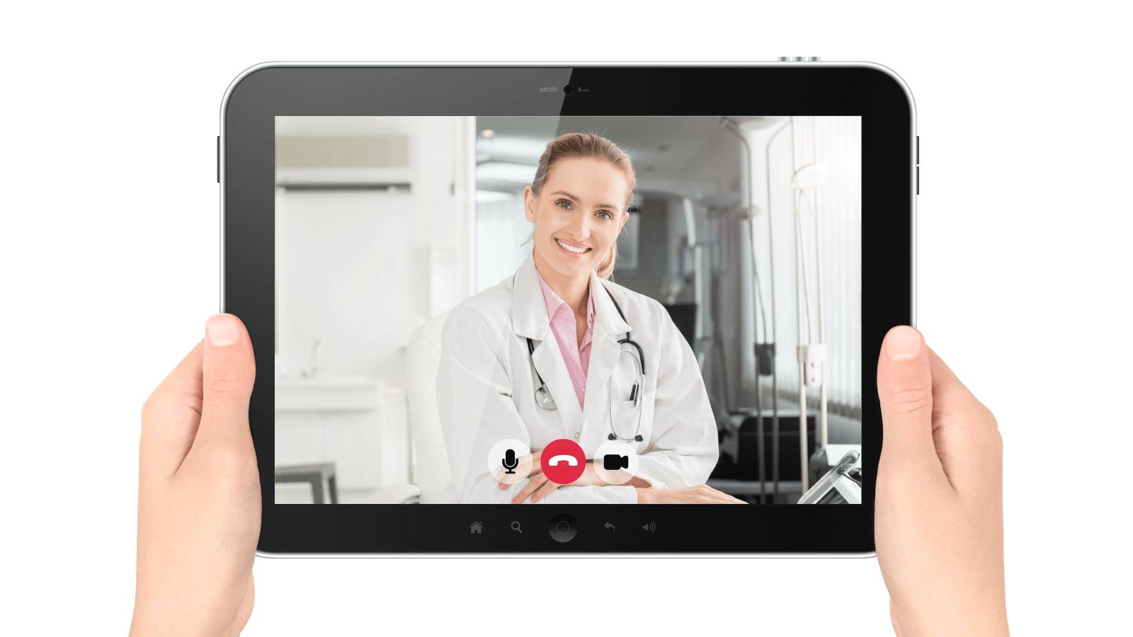 telehealth doctor on tablet