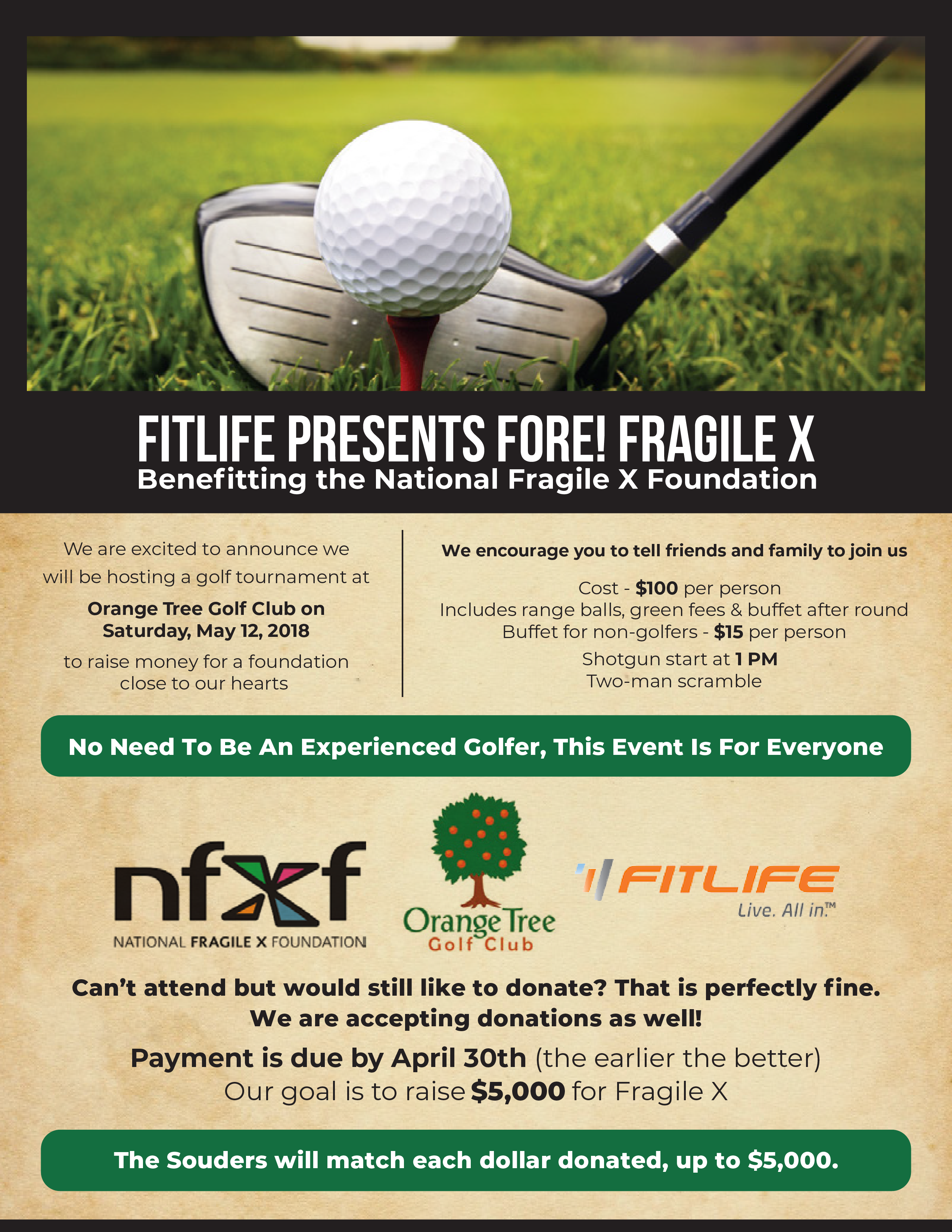 FORE! Fragile X golf tournament flyer
