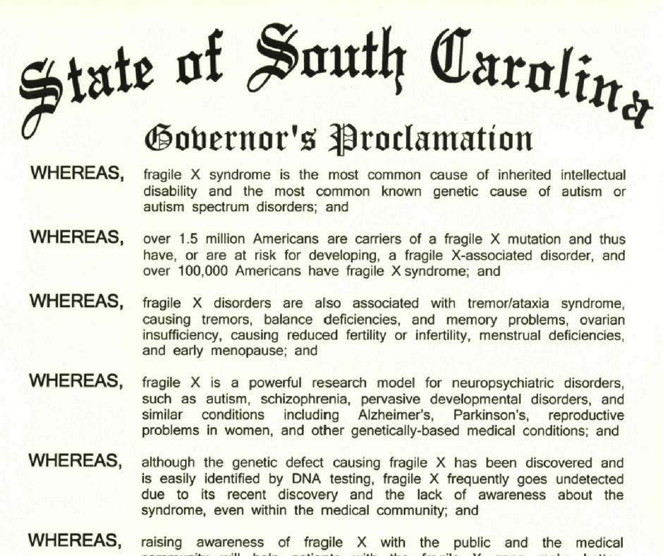 South Carolina Fragile X Awareness Proclamation