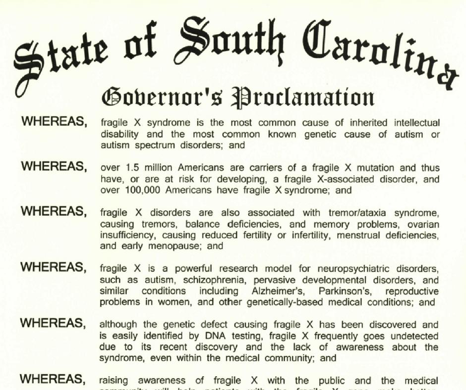 South Carolina Fragile X Awareness Proclamation