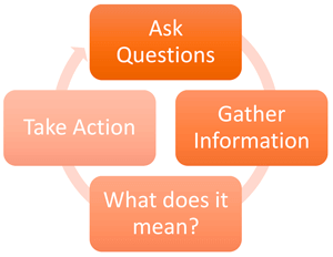 Assessment flow chart for ask questions, gather information, what does it mean?, and take action