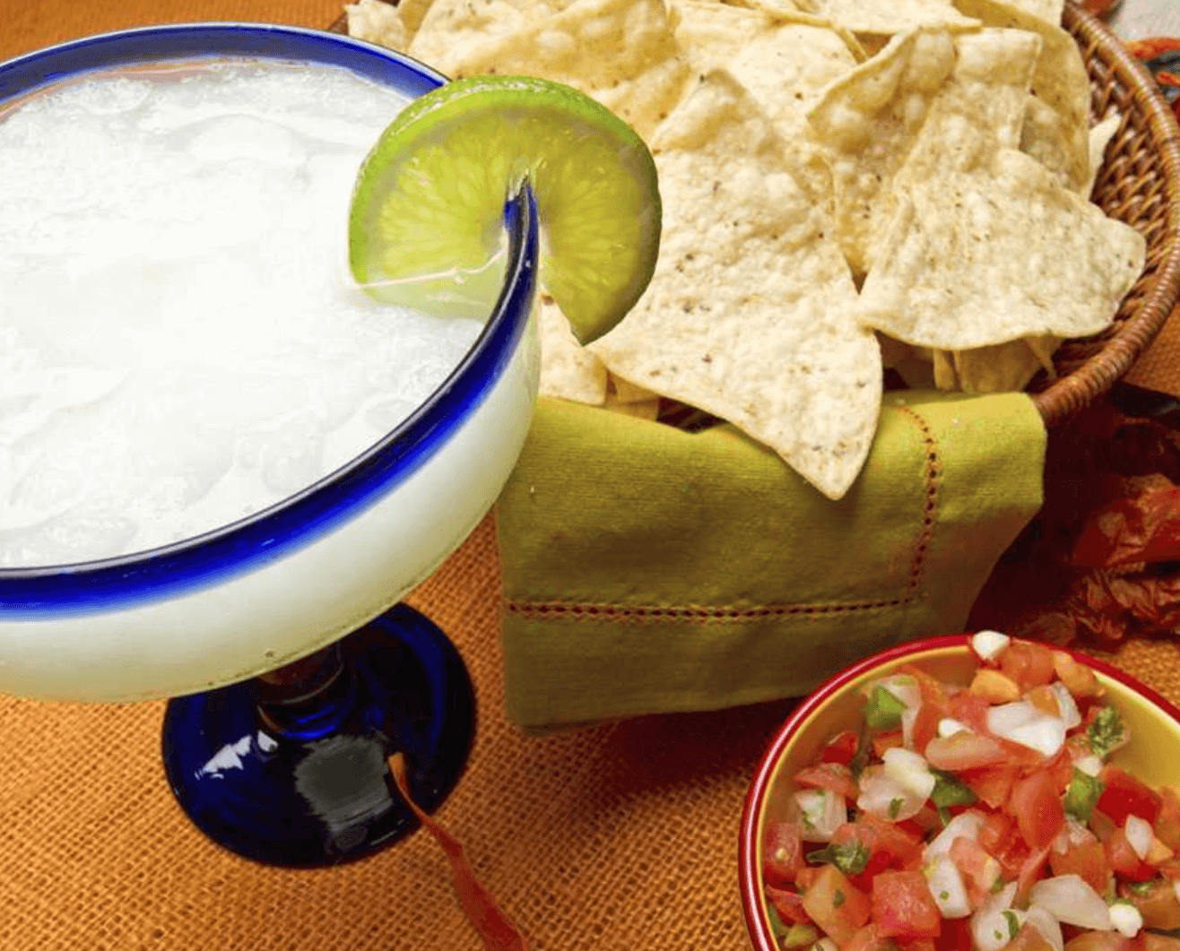 margharita, chips, and salsa