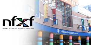 Front view of Boston Children's Hospital and the FXCRC Fragile X Clinics logo