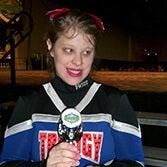 Cheerleader with award