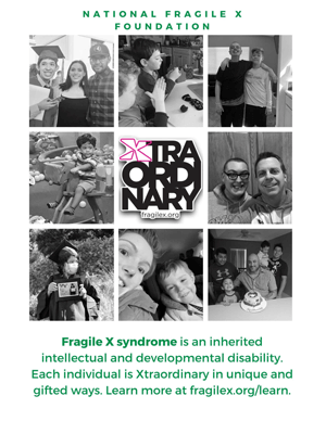 NFXF poster with images of people and facts about Fragile X