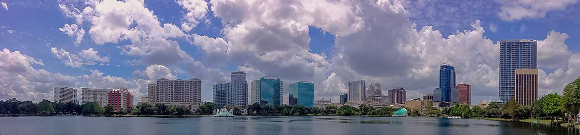 Orlando Florida taken from Lake Eola park. Photo by Chad Sparkes.