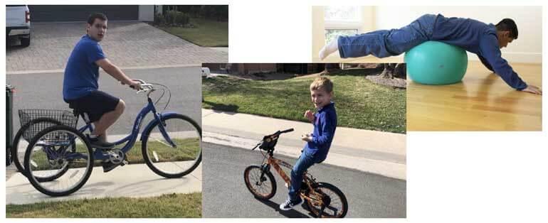 Two boys riding their bike, and one boy balancing on a balance ball.