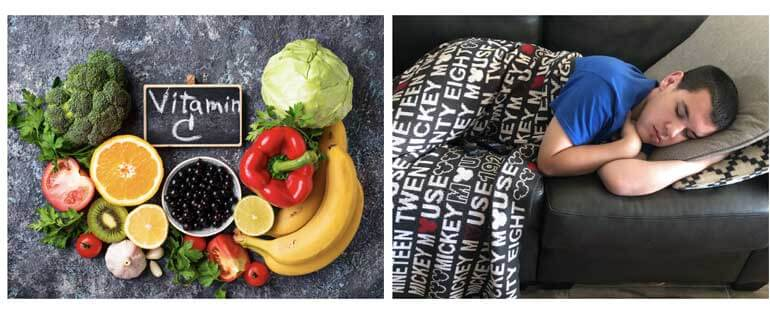 Group of healthy fruits and vegetables, and a boy sleeping on a couch with a blanket over him.