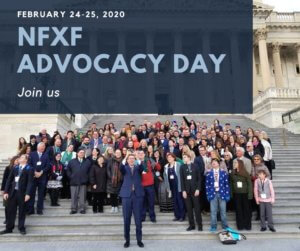 NFXF Advocacy Day Feb 24 25 2020 group of advocates on capitol steps for selfie with Congressman Gregg Harper