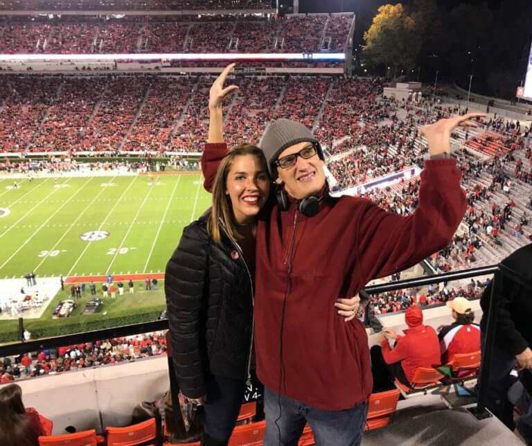 Paige and Bryan at University of Georgia football game.