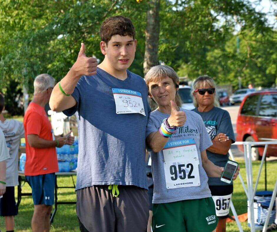 Elizabeth Berry Kravis and self-advocate participating in the 2019 Chicago XStrides