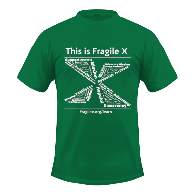 Fragile X awareness shirt - green with logo on front