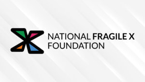 Zoom background with NFXF X logo and NATIONAL FRAGILE X FOUNDATION