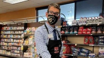 Ian wearing a mask