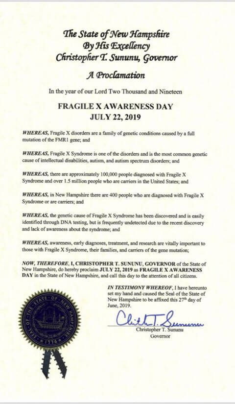 New Hampshire Fragile X Awareness Day 2019 Proclamation