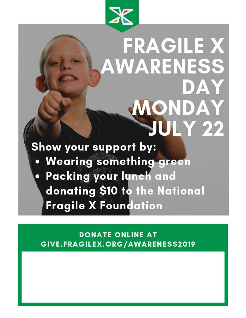 Fragile X awareness day Monday July 22 poster