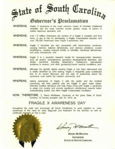 South Carolina Fragile X Awareness Day 2019 proclamation