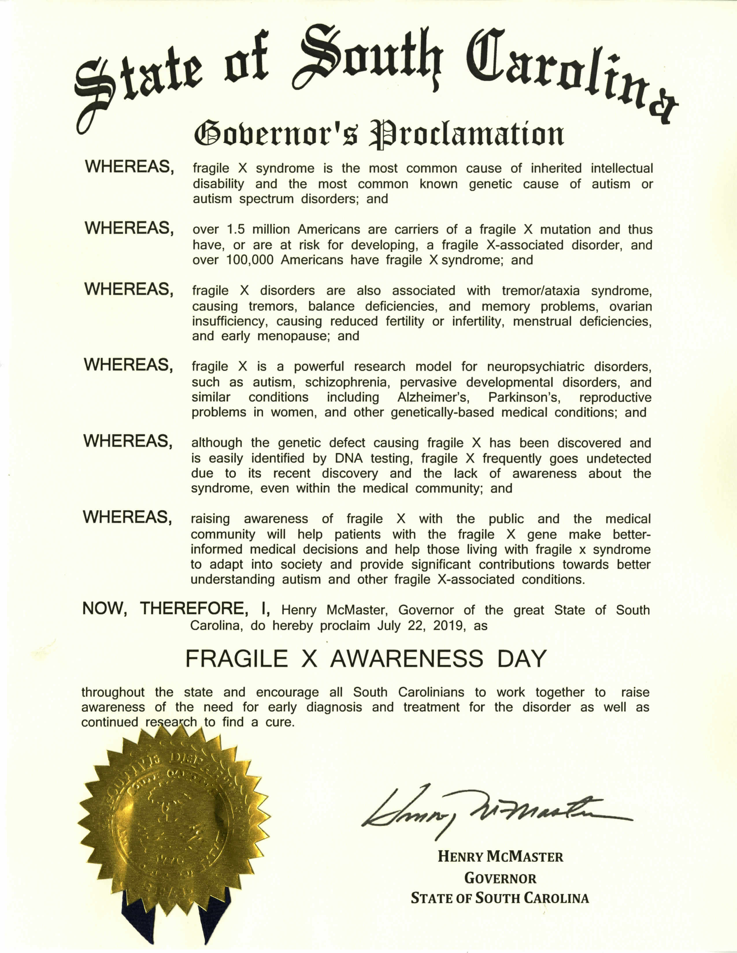 South Carolina Fragile X Awareness Day 2019 proclamation
