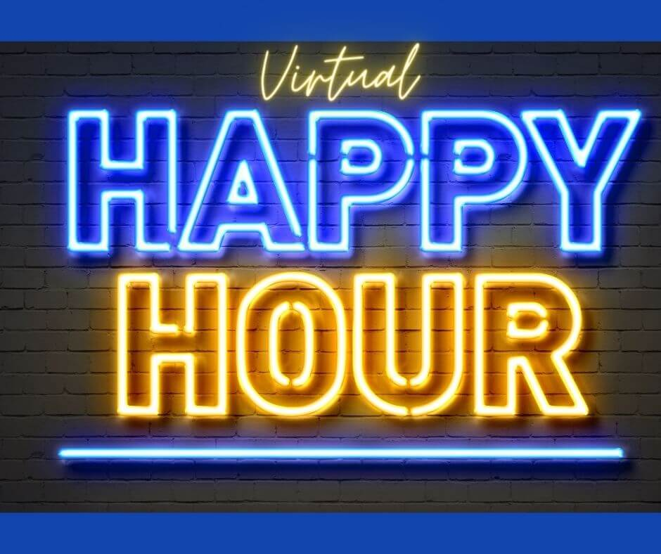 virtual happy hour neon sign