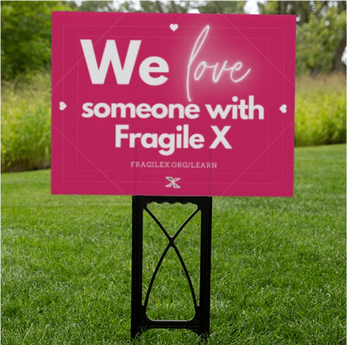 we love someone with fragile x yard sign