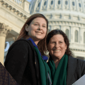 Two women in front of the U.S. capital building