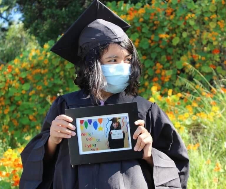 Anna Fonseca graduating from elementary school