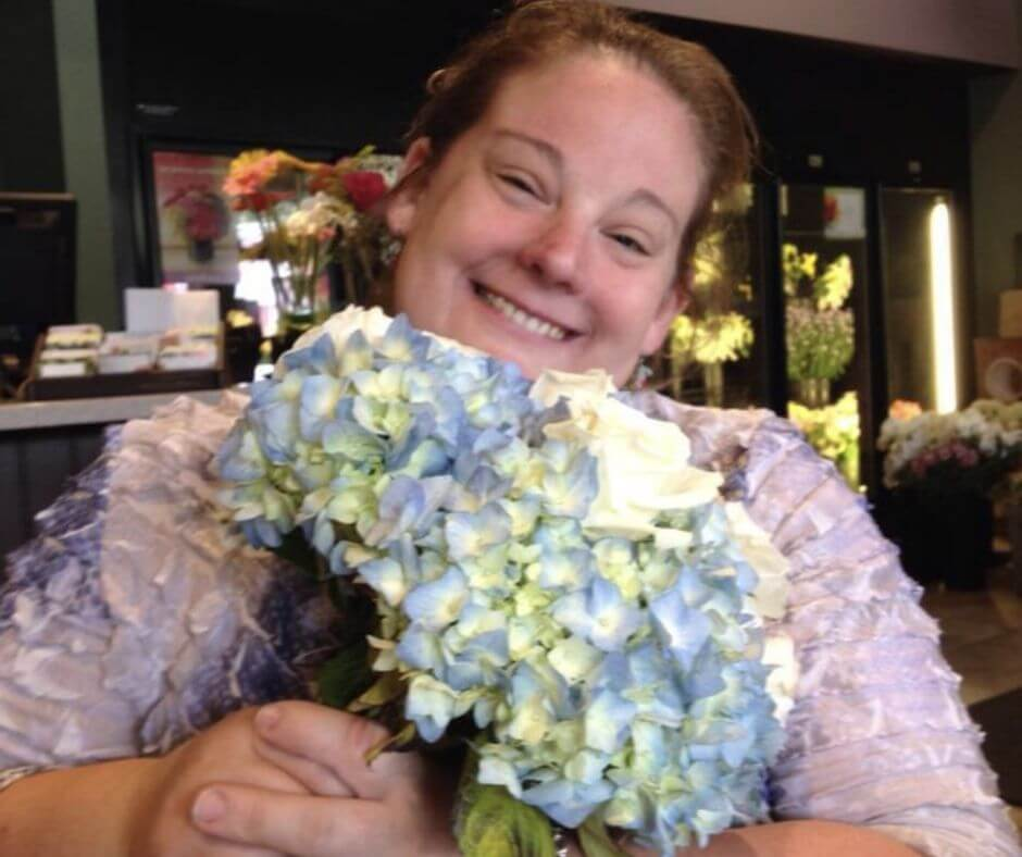 christine with bouquet of hydrangas