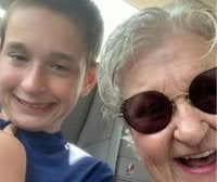 A selfie of Cole Lake with his grandmother Carol Schreibeis