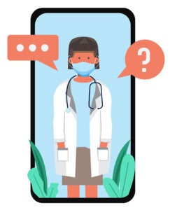 Doctor wearing a COVID-19 PPE mask with her hands in her pockets, standing, on a mobile phone screen