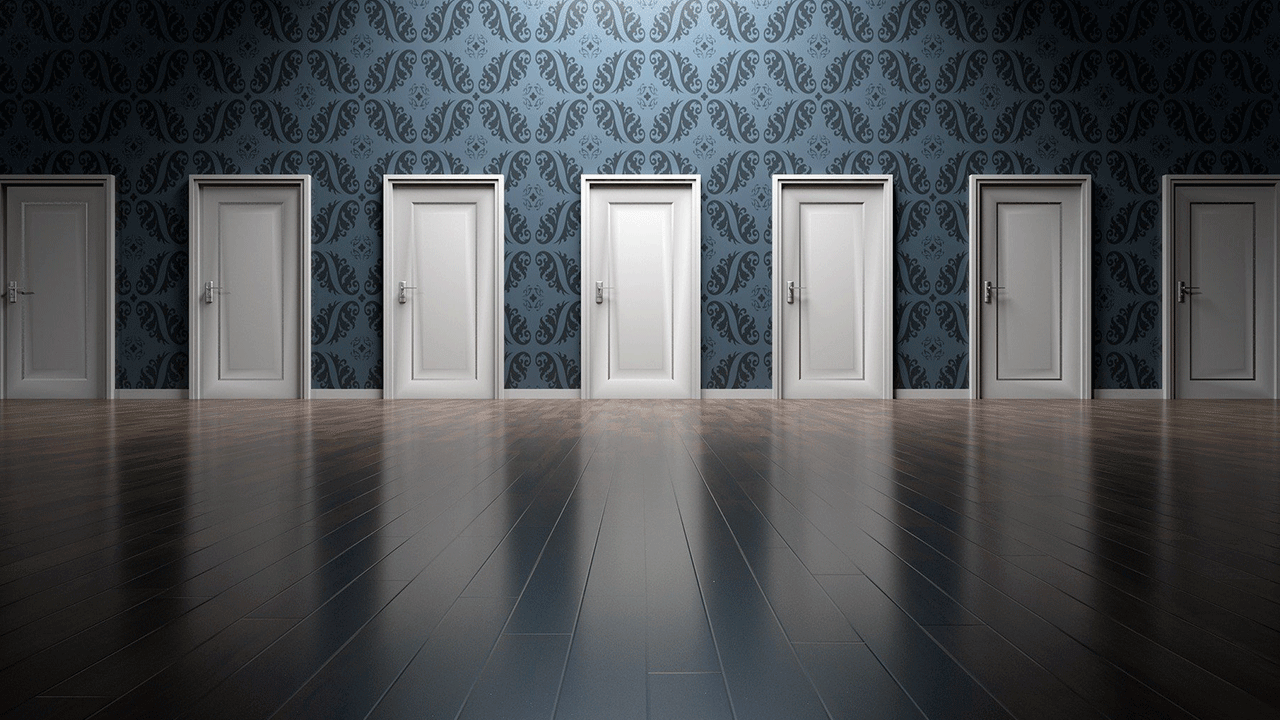 Lots of doors to show multitude of options. Image by Arek Socha at Pixabay.