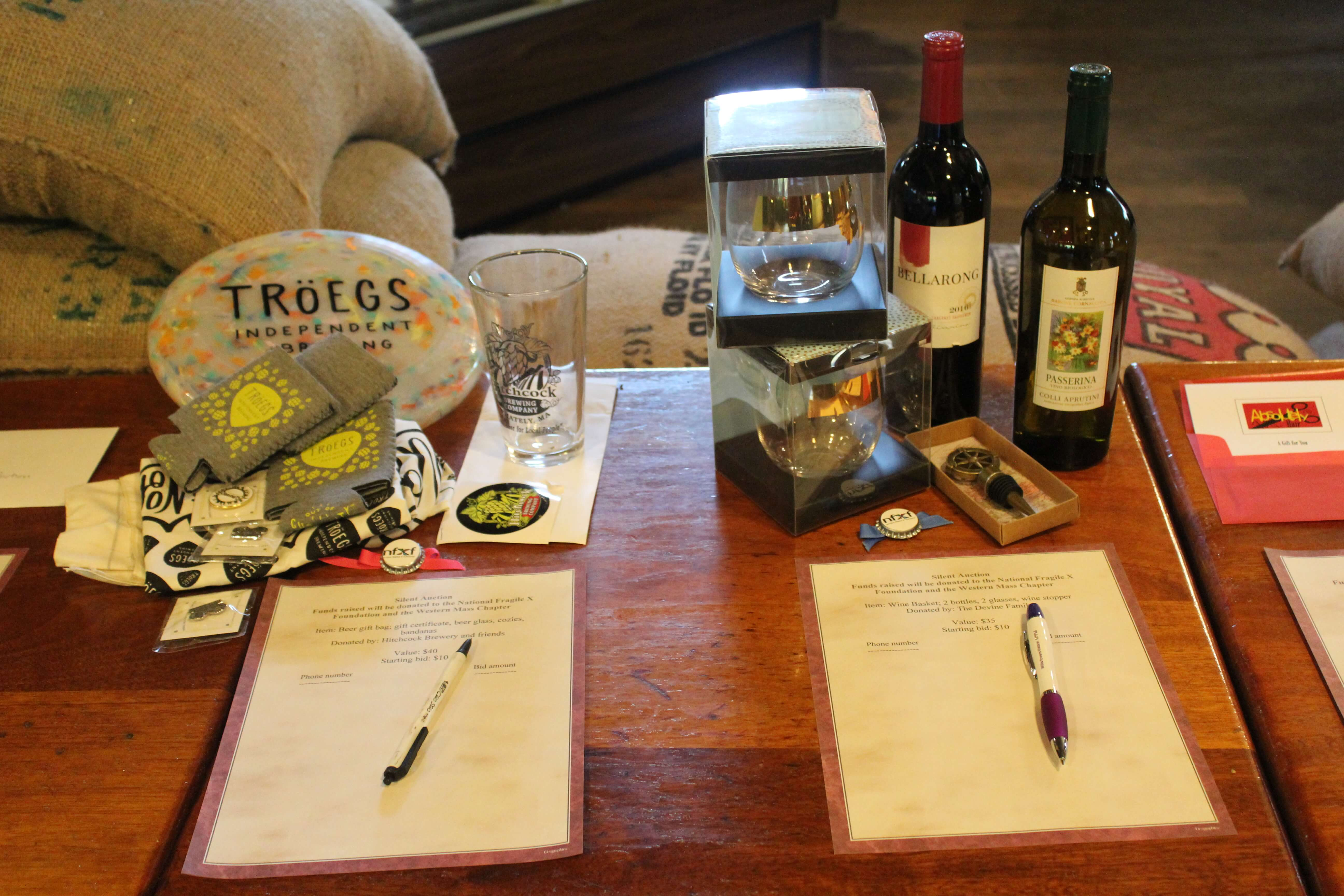 Silent auction prizes at the Western Massachusetts chapter Cork and Cafe Fundraiser.