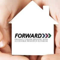 FORWARD logo held in the hands of a child and parent
