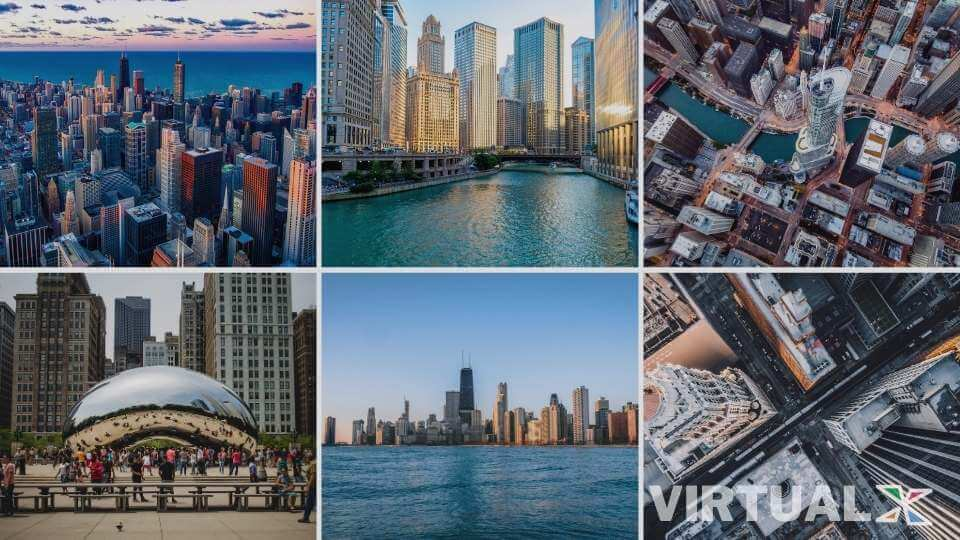 Images of Chicago laid out in a grid