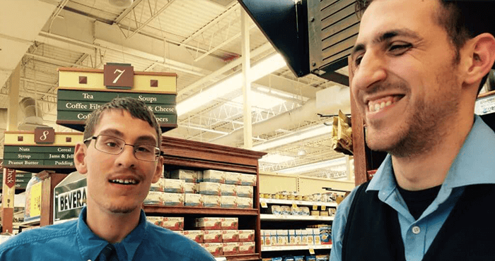 Bagger Ian and manager Anthony in King Sooper grocery store