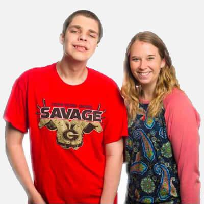 Siblings, a young girl and teenage boy