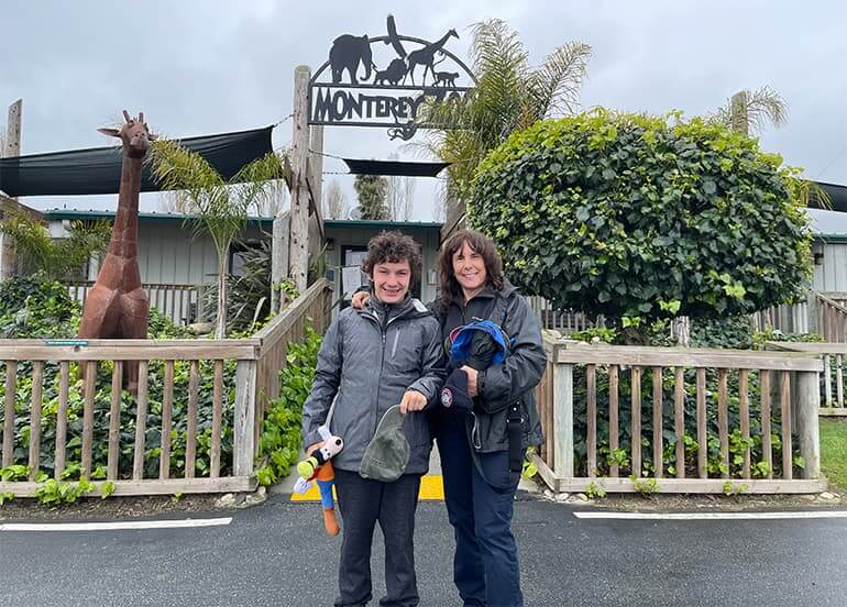 Zach and his mother Jennifer at the Monterey Zoo