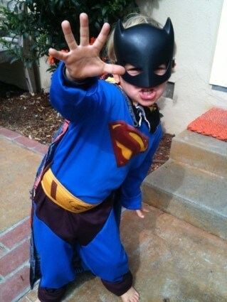 little superman with batman mask
