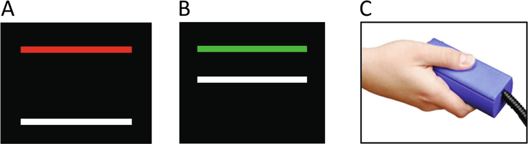 Black square with red and a white horizontal line, black square with a green and white horizontal line, and hand holding unit for pressing