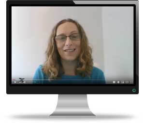 Rebecca Shaffer on a monitor appearing in a YouTube video