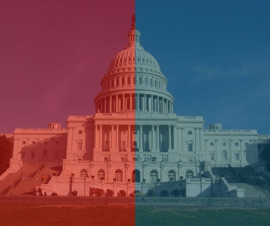 US capitol with left side red overlay and right side blue